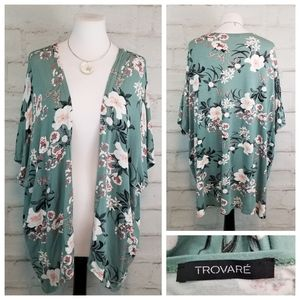 Trovaré S/M Floral Short Sleeve Thin Open Cardigan